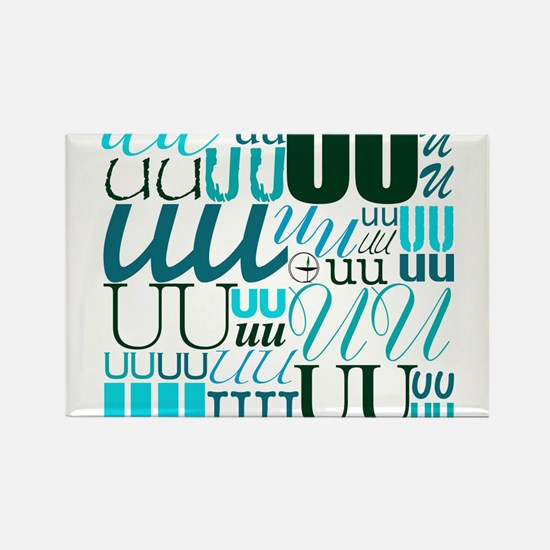 UU Typography (Aqua) Rectangle Magnet