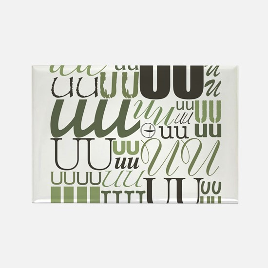 UU Typography (Sage) Rectangle Magnet