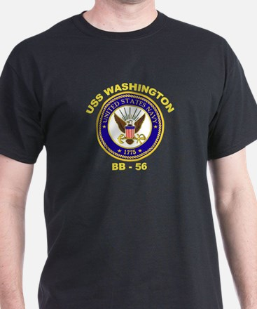 USS Washington BB 56 Black T-Shirt
