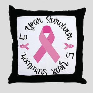 5 Year Survivor Throw Pillow