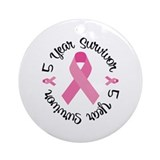 Breast cancer year glass 5 year survivor Round Ornaments