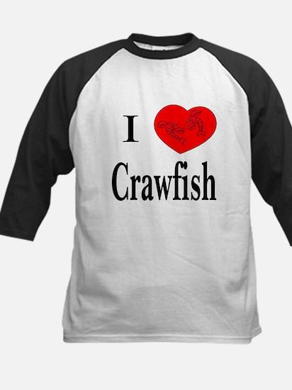 I Love Crawfish Kids Baseball Jersey