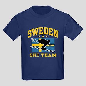 Sweden Ski Team Kids Dark T-Shirt