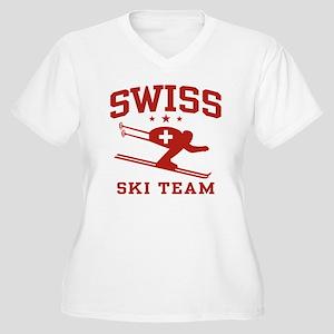 Swiss Ski Team Women's Plus Size V-Neck T-Shirt