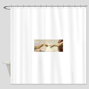 Creation of Adam Hands - Michelange Shower Curtain