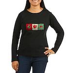 Peace, love, meat Women's Long Sleeve Dark T-Shirt