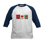 Peace, love, meat Kids Baseball Jersey