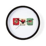 Peace, love, meat Wall Clock