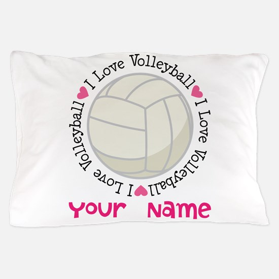 Cute I love volleyball Pillow Case