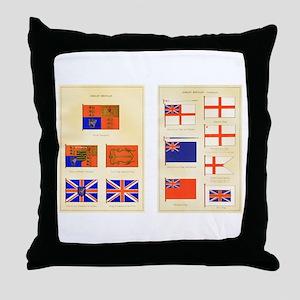 UK Nautical Flags Throw Pillow
