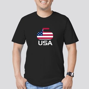 USA curling Men's Fitted T-Shirt (dark)