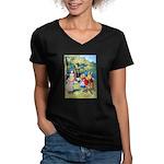 ALICE & THE WHITE KING Women's V-Neck Dark T-Shirt