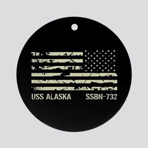 USS Alaska Round Ornament