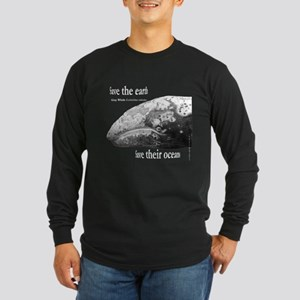 Gray Whale Head Long Sleeve Dark T-Shirt