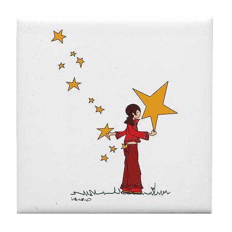 stars girl (opposite) - Tile Coaster
