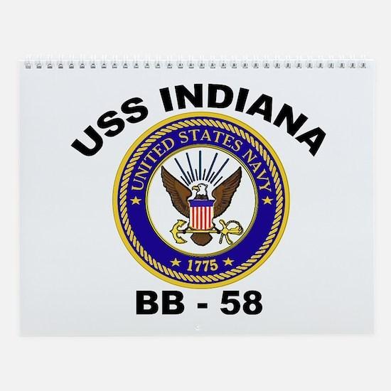 USS Indiana BB 58 Wall Calendar