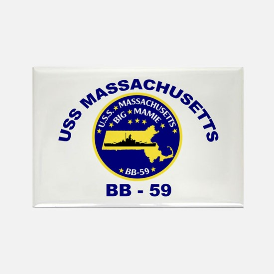 USS Massachusetts BB 59 Rectangle Magnet