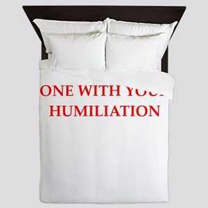 Funny joke on gifts and t-shirts. Queen Duvet