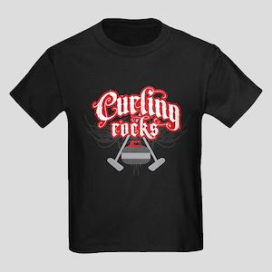 Curling Rocks Kids Dark T-Shirt