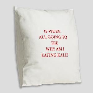 eating Burlap Throw Pillow