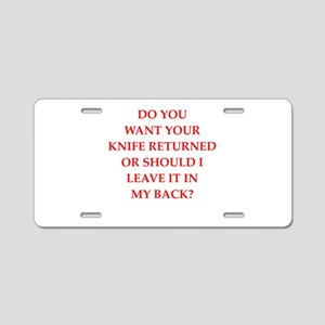 knife Aluminum License Plate