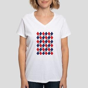 Harlequin Pattern Women's V-Neck T-Shirt