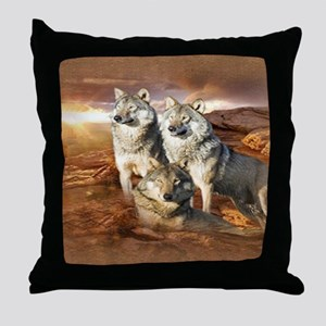 Wolves Trio Throw Pillow