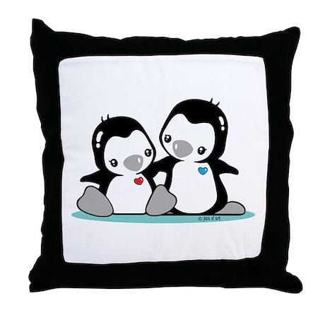 Penguins (b&w) Throw Pillow