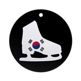 Korean ice skater Round Ornaments