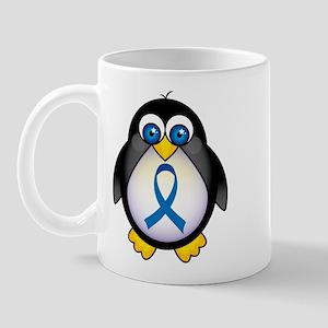 Penguin Blue Ribbon Awareness Mug