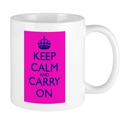Keep Calm and Carry On Pink+Blue Mug Front+Back