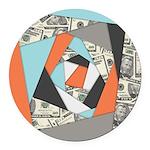 Layered Money Round Car Magnet
