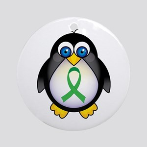 Penguin Green Ribbon Awareness Ornament (Round)