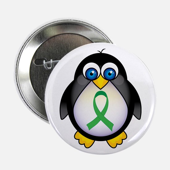 "Penguin Green Ribbon Awareness 2.25"" Button"