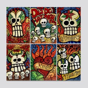 Day of the Dead Sugar Skulls / Flaming Heart Tile