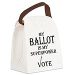 My Ballot is My Superpower Black Canvas Lunch Bag
