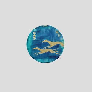 Aqua/Gold Greyts Mini Button