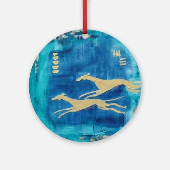 Aqua/Gold Greyts Ornament (Round)
