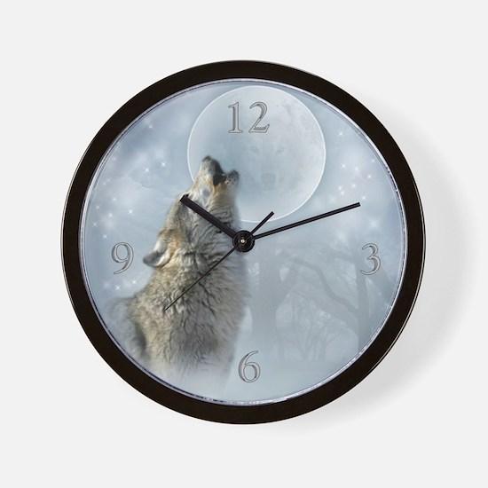 Wolf Blue Moon Wall Clock 10inch