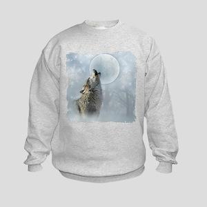Wolf Blue Moon Kids Sweatshirt
