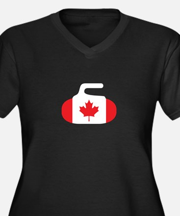 Canada Curling Women's Plus Size V-Neck Dark T-Shi