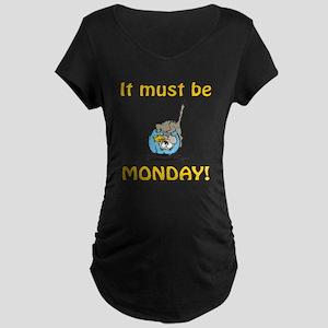 Funny Monday Cat Maternity Dark T-Shirt