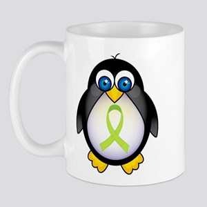 Penguin Lime Green Ribbon Awareness Mug