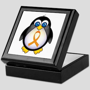 Penguin Orange Ribbon Awareness Keepsake Box