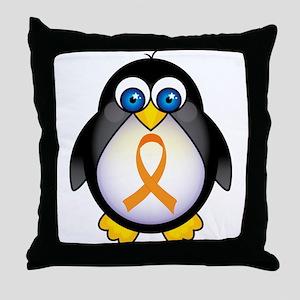 Penguin Orange Ribbon Awareness Throw Pillow