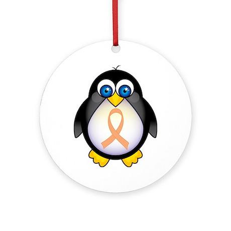 Penguin Peach Ribbon Awareness Ornament (Round)