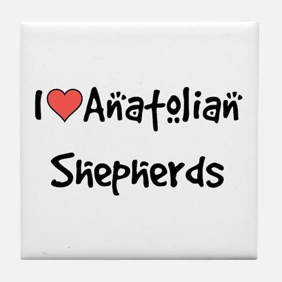 I heart Anatolian Shepherds Tile Coaster