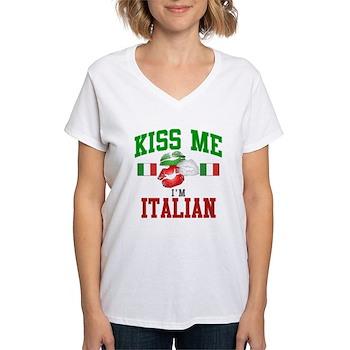Kiss Me I'm Italian Women's V-Neck T-Shirt