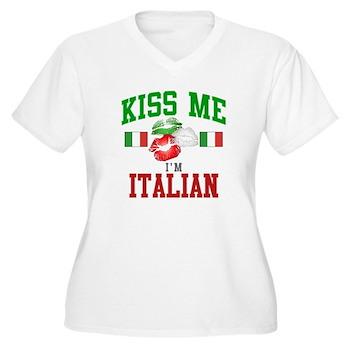 Kiss Me I'm Italian Women's Plus Size V-Neck