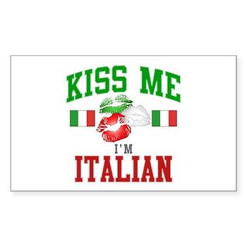 Kiss Me I'm Italian Sticker (Rectangle)